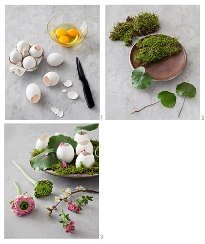 Easter decoration made of moss, egg shells and flowers