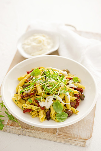 Garganelli al limone with burrata and dried tomatoes