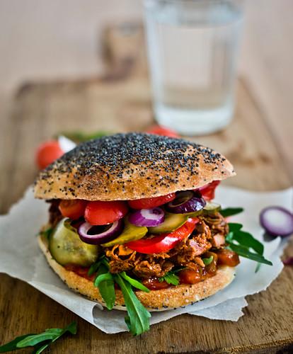 Vegan jackfruit sandwich