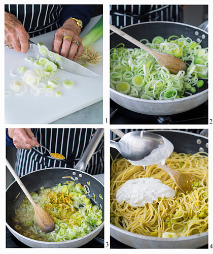 How to make spaghetti with leeks and curry