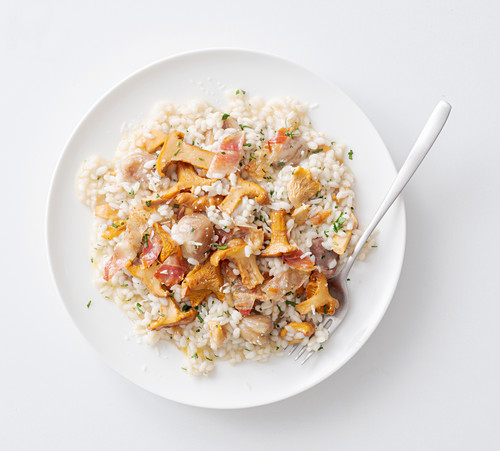 Chanterelle risotto with bacon