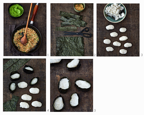 Gunkan sushi being made