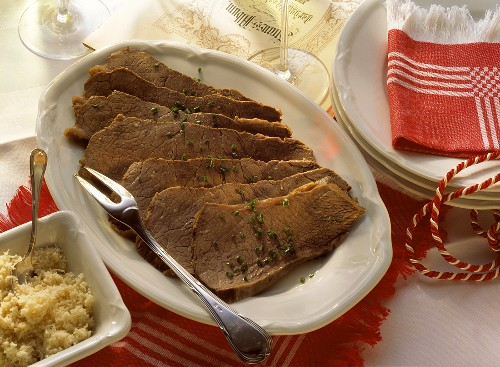 Viennese boiled beef fillet with horse radish