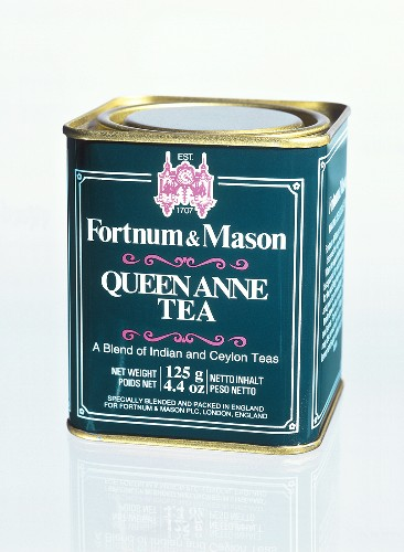 A Fortnum & Mason tea caddy with Queen Anne tea