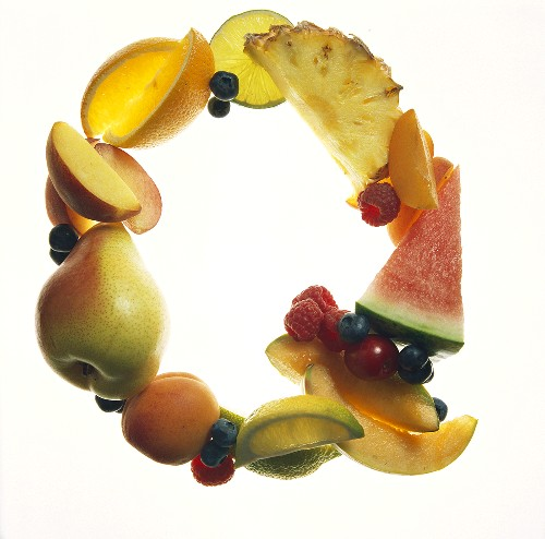 Fruit Forming the Letter Q