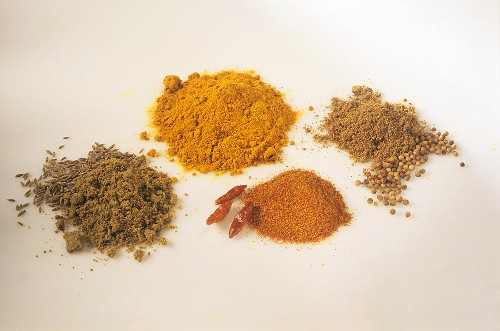 Caraway, paprika, coriander and curry powders