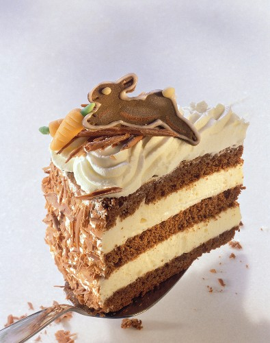 A piece of advocaat & chocolate gateau with chocolate bunny