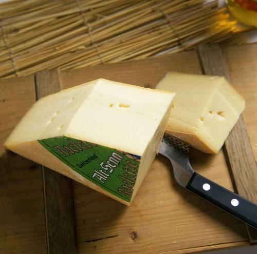 Swiss Raclette cheese (Alt Senn), a section cut