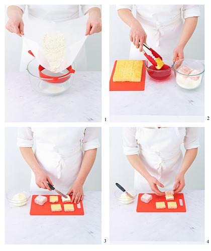 Preparing strawberry jelly cakes