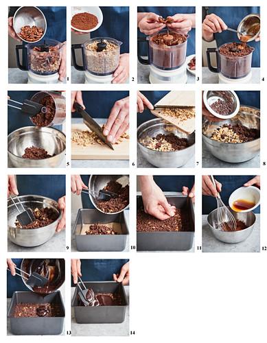 Preparing Pecan Walnut brownies with Cocoa Glaze