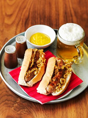 German hot dogs with sauerkraut, mustard and beer