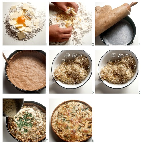 Making a quiche with mushrooms, sprouted seeds and short pastry