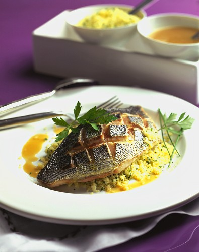 Loup de Mer (sea perch) on herb couscous