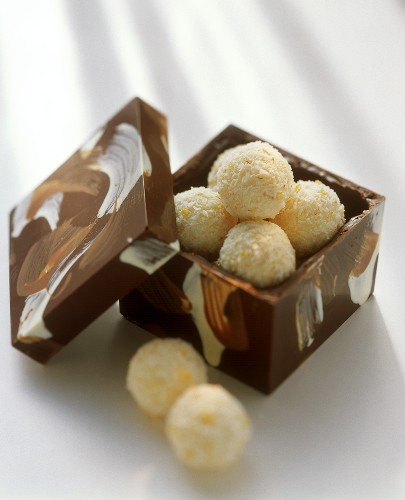 Coconut truffle in a chocolate box