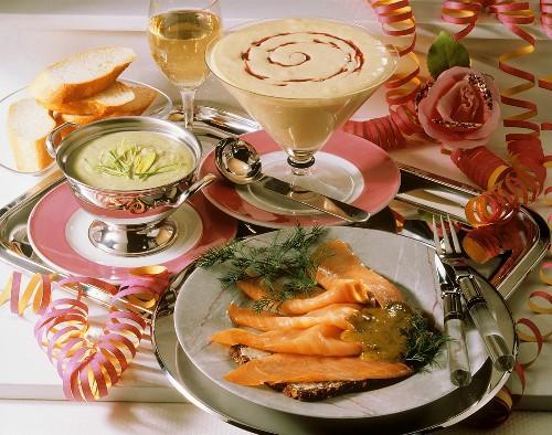 New Year's Eve: creamed leek soup, salmon & mascarpone mousse