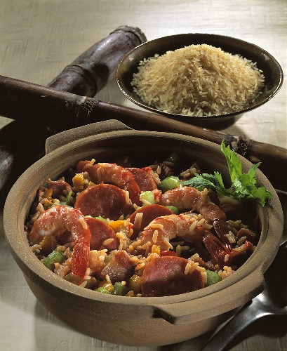 Jambalaya: rice stew with sausage & shrimps, New Orleans