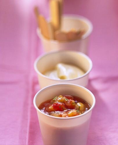 Mango and tomato chutney and garlic mayonnaise