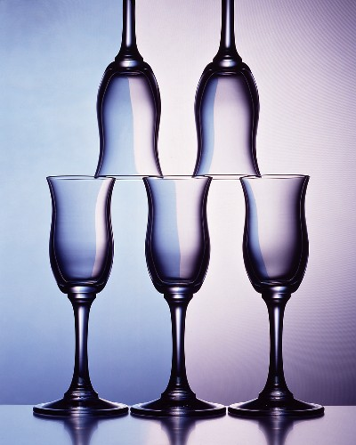 Piled up sherry glasses