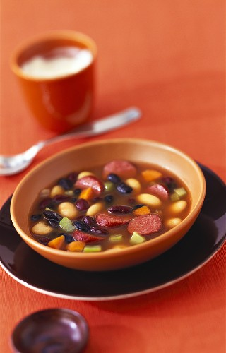 Colourful bean soup with cabanossi and peppers