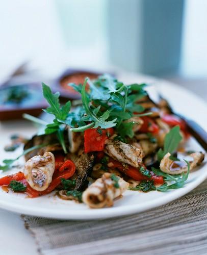 Warm cuttlefish and vegetable salad