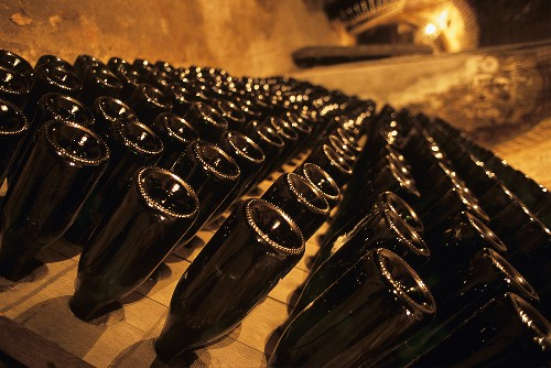 Champagne bottles in pupitre, Reims, Champagne