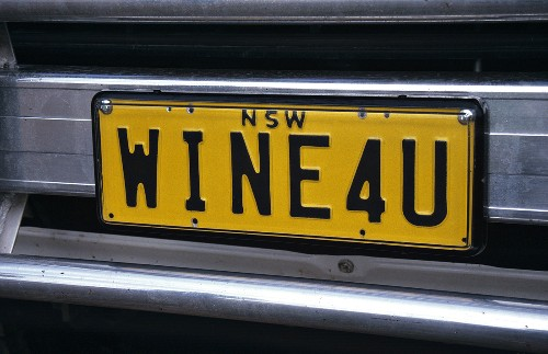 """Original: number plate with """"Wine for U"""", Griffith, Australia"""