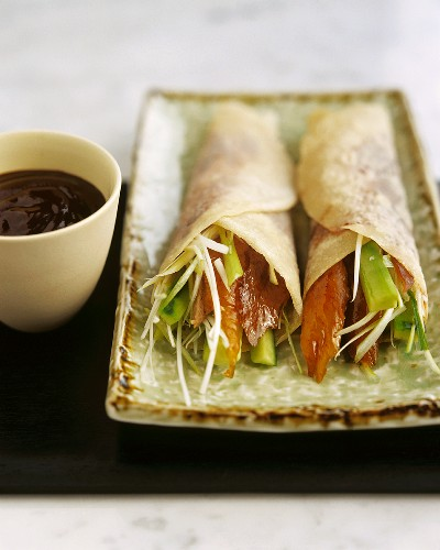 Pancakes stuffed with Peking duck and Vegetables, Plum sauce