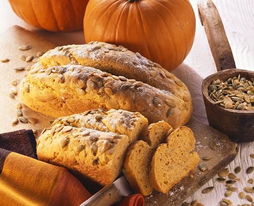 Pumpkin seed bread with pumpkins and pumpkin seeds