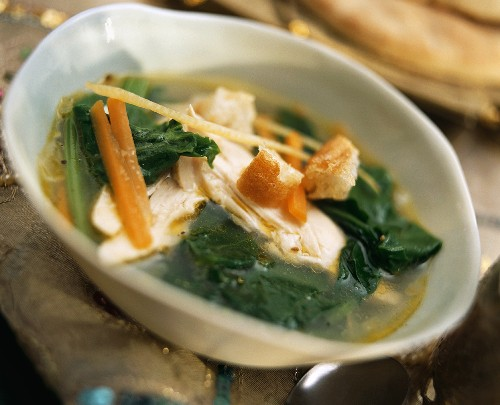 Arabic vegetable soup with chicken breast