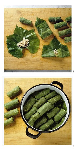 Stuffing vine leaves with rice
