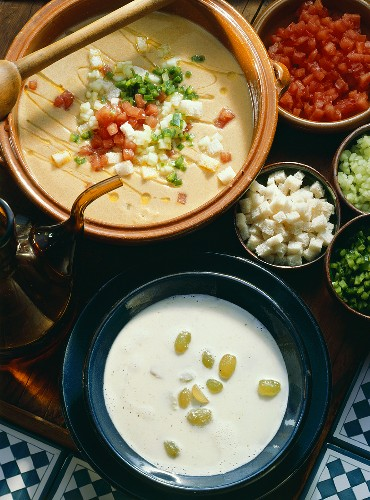 Cold grape & almond soup & cold vegetable soup (Gazpacho)