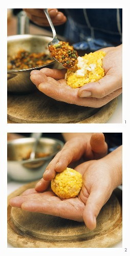 Making deep-fried, stuffed rice balls