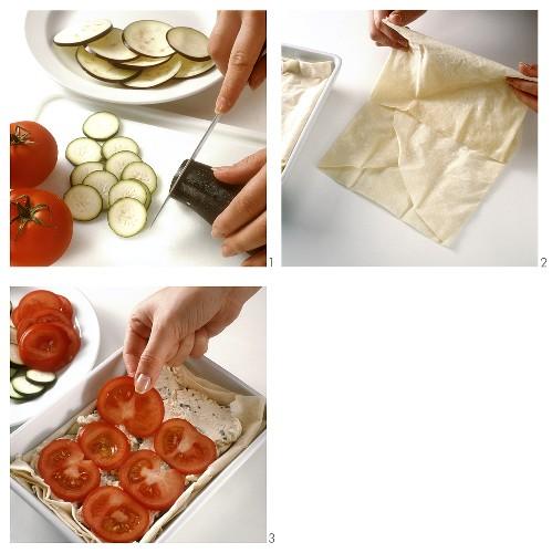 Making börek with mixed vegetables