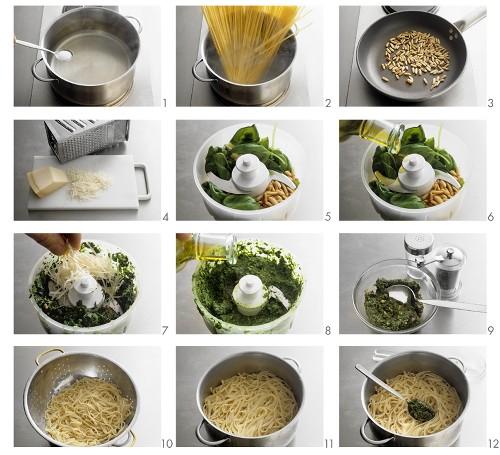 Making linguine al pesto (pasta with pesto)