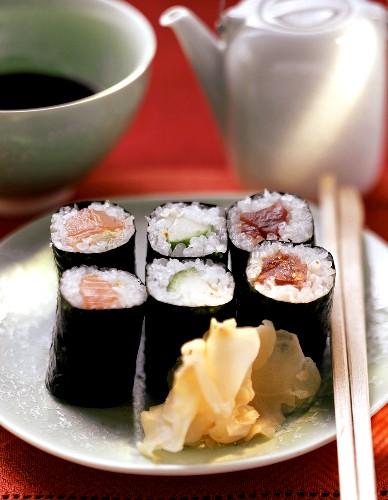 Maki sushi with salmon, cucumber, tuna
