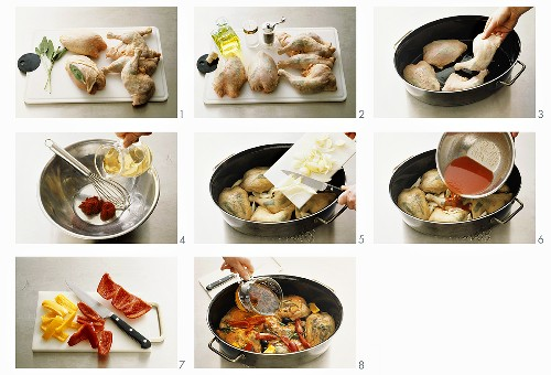 Preparing Provencal braised chicken