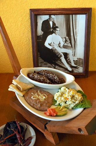 Mexican dish with Mole Poblano (chocolate sauce)