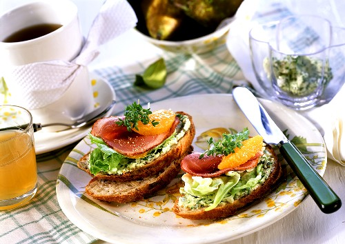 Open sandwiches with rocket butter, salad & smoked duck breast