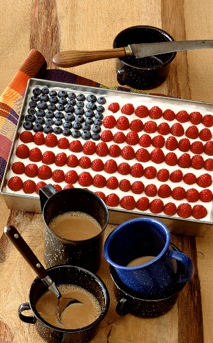 Cheesecake tiramisu with berries decorated as American flag