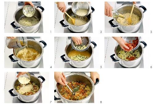 Gemüse-Käse-Risotto zubereiten