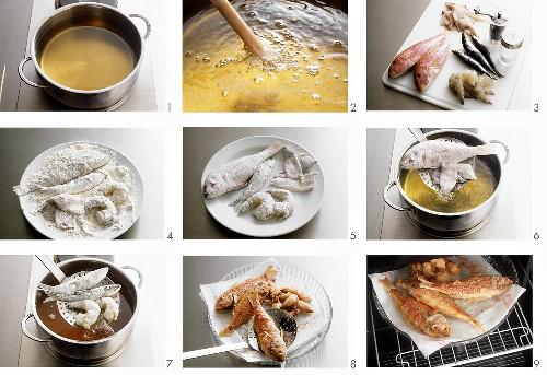 Preparing fritto misto di mare (fried seafood)