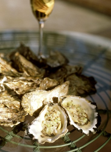 Oysters (Sydney Rock Oysters) with onions