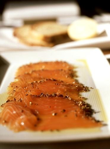 Tasmanian smoked salmon on white serving plate