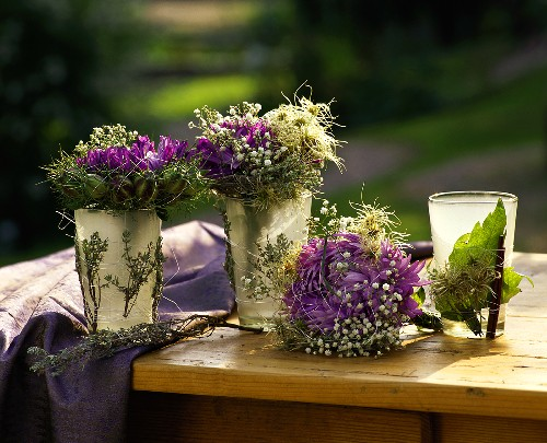 Autumn decoration with asters and gypsophila