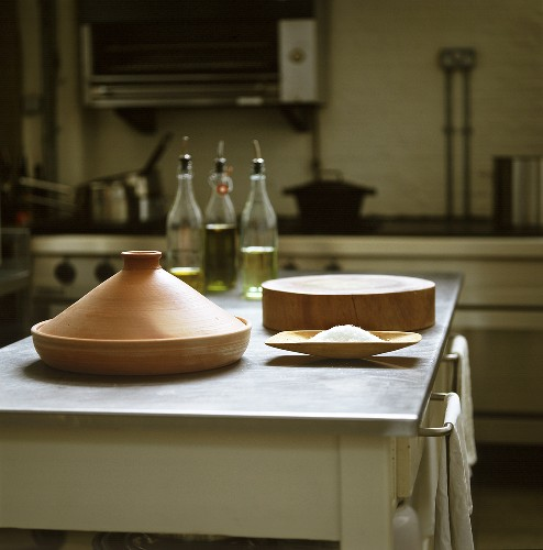 Tajine standing in a kitchen