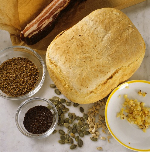 White bread, spices and ingredients