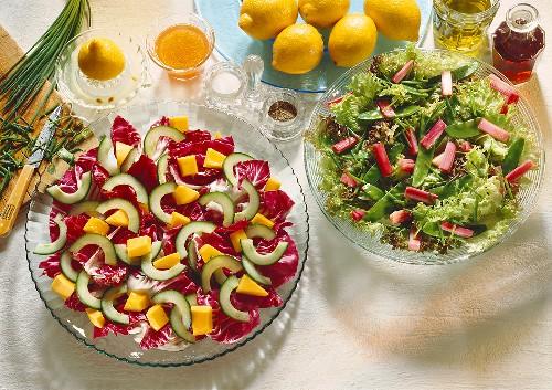 Salad leaves with rhubarb & radicchio with cucumber, melon