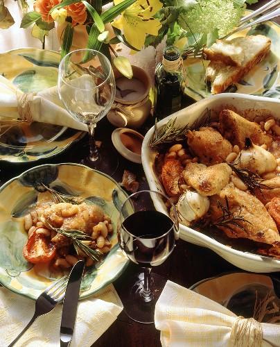Pollo alla contadina (chicken with beans and garlic)