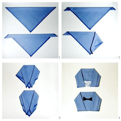 Folding a napkin into a dinner jacket or blouse