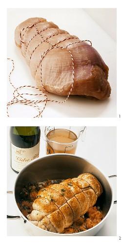 Preparing roast turkey: tying with kitchen string; braising